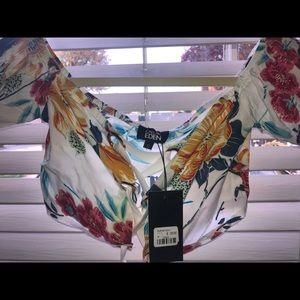 LF Off-The-Shoulder Floral Tie Crop